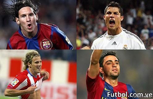 Forlan, Cristiano Ronaldo, Messi y Xavi encabezan el grupo