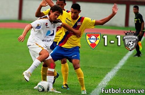 Real Esppor empató a 1 gol con el Aragua FC por la fecha 14 del torneo Profesional venezolano. Foto: Prensa Real Esppor